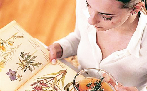 Травница внимательно читает книгу о лекарственных растениях