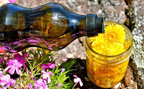 Головки воздушных цветов следует залить маслом доверху
