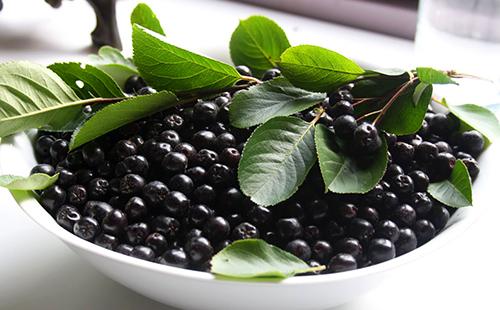 Белое блюдо с ягодами черноплодки