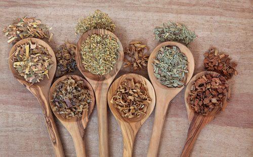 Травы и пряности в деревянных ложках