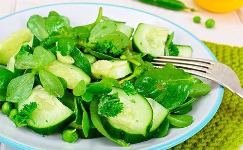 Салат с огурцами и портулаком